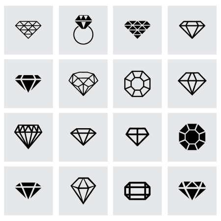coeur en diamant: diamant icon set sur fond gris Illustration