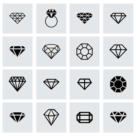 diamond icon set on grey background Ilustração