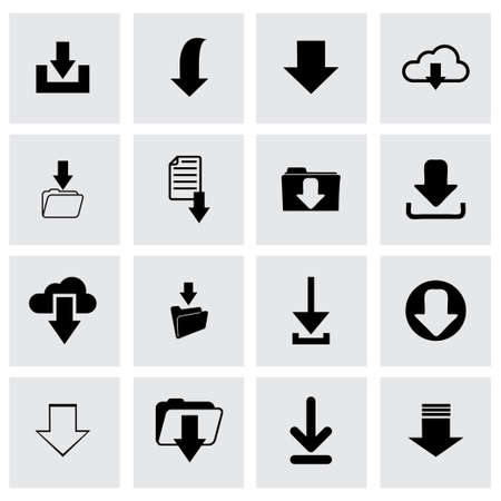 vector download: Vector download icon set on grey background