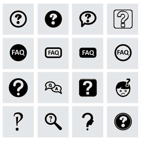 faq icon: Vector icono faq establece sobre fondo gris