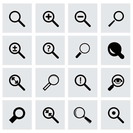 Vector magnifying icon set on grey background Vector