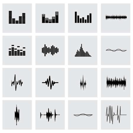 music sound-wave icon set on grey background