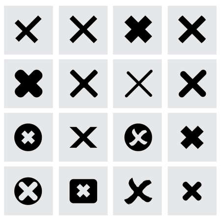 rejected icon set on grey background Vector