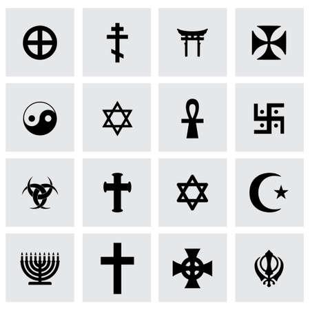 religious symbols icon set on grey background Иллюстрация