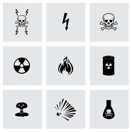 Vector black danger icons set on grey background