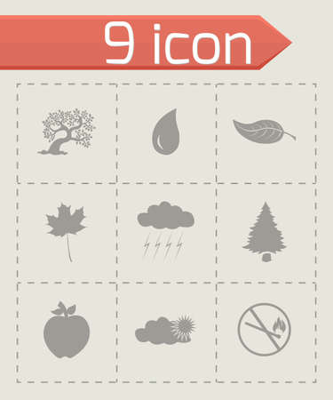 Vector black eco icons set on grey background Vector