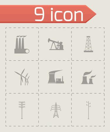 electrical engineer: Vector black energeticsl icons set on grey background Illustration