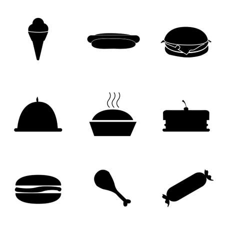 frozen fish: Vector food icons set on white background