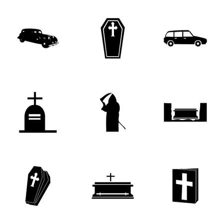 abbey: Vector funeral icons set on white background