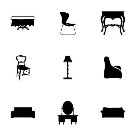 book case: Vector furniture icons set on white background