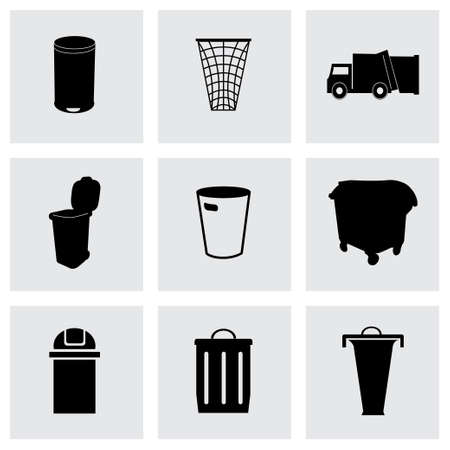 Vector garbage icons set on grey background Vector