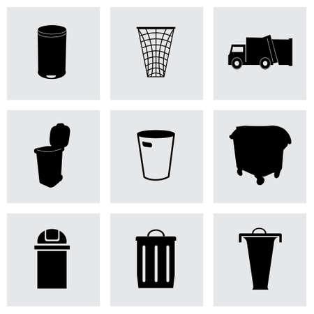 trashing: Vector garbage icons set on grey background