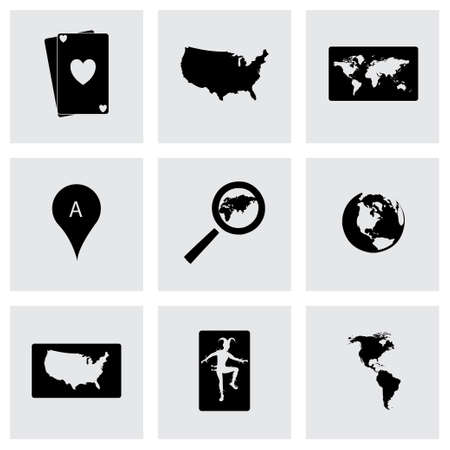 brand position: Vector map icons set on grey background