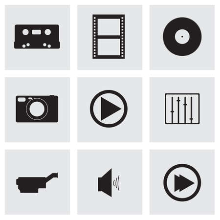 rolled newspaper: Vector media icons set on grey background Illustration