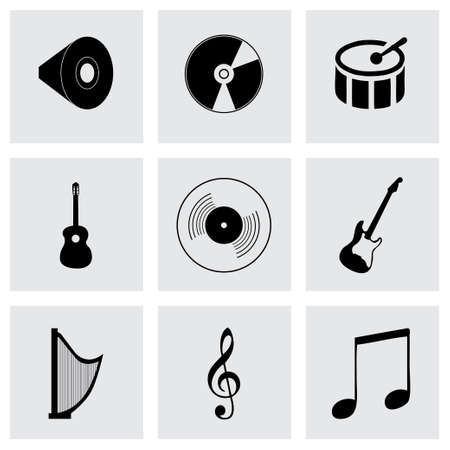 Vector black music icons set on grey background