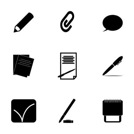 Vector black notes icons set on white background Vector