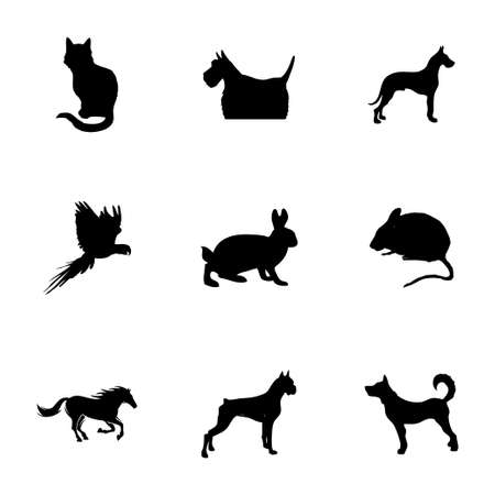 Vector pet icons set on white background