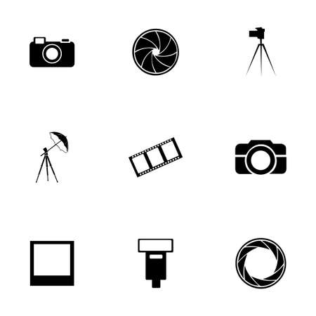 photo icons: Vector black photo icons set on white background