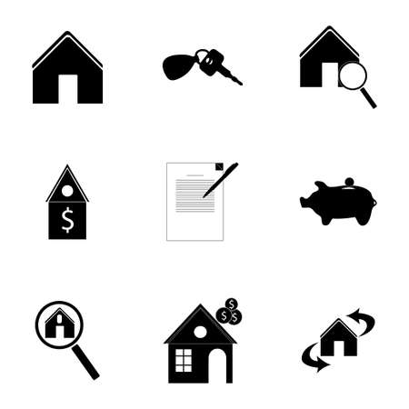 property for sale: Vector real estate icons set on white background