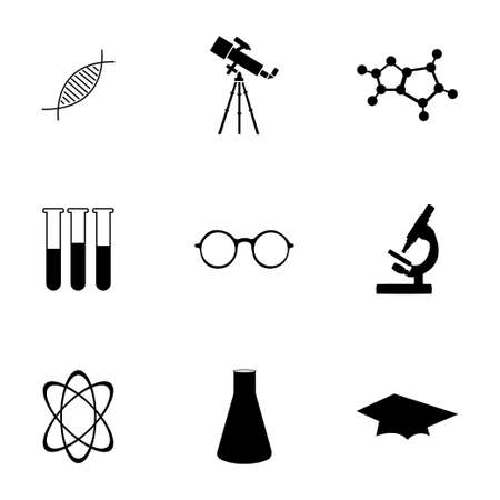 science symbols metaphors: Vector science icons set on white background Illustration