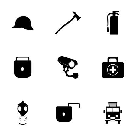 retina scan: Vector security icons set on white background