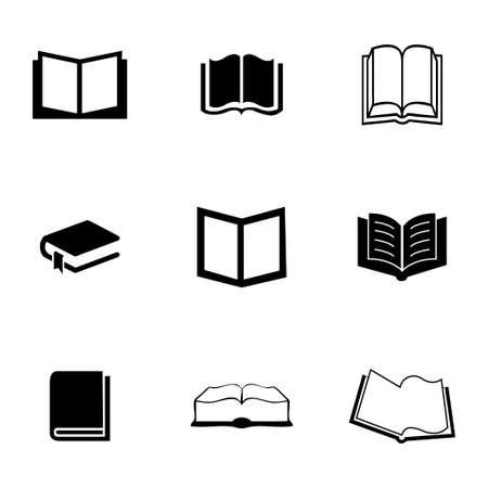 bookshelf digital: Vector book icons set on white background Illustration