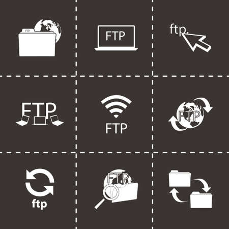 ftp: Vector FTP  icons set on black background