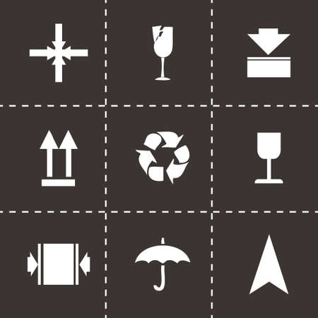 marking: Vector marking of cargo  icons set on black background