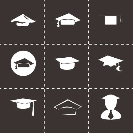 valedictorian: Vector academic icon set on black background