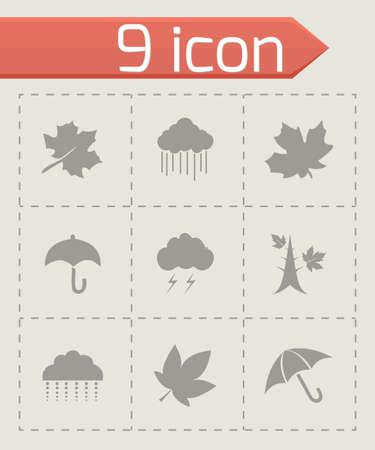 Vector autumn icon set on grey background Vector