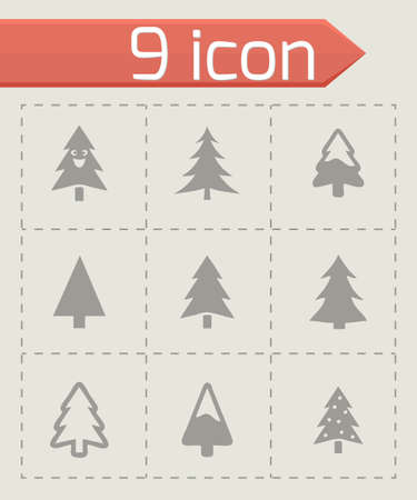 cristmas: Vector cristmas trees icons set on grey background