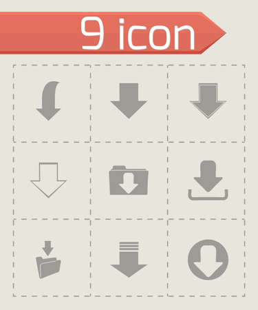 vector download: Vector download icons set on grey background