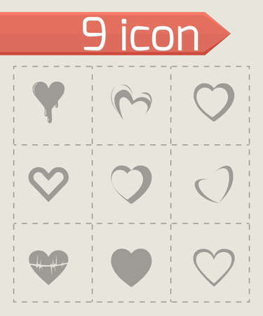 vector hearts: Vector hearts icons set on grey background