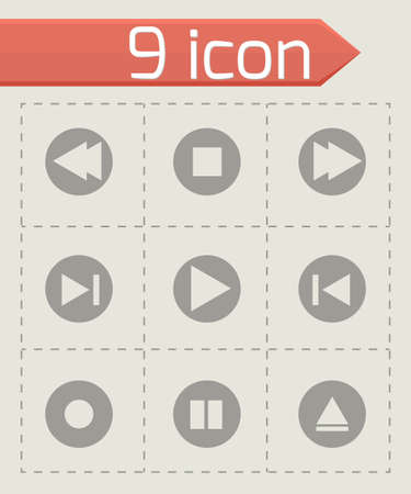 media buttons: Vector media buttons icons set on grey background