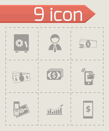mobile banking: Vector mobile banking icons set on grey background