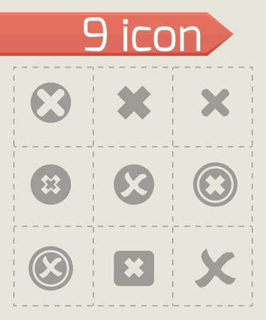 Vector rejected icon set on grey background Vector