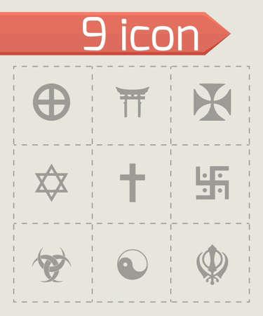 simbolos religiosos: Vector s�mbolos religiosos conjunto de iconos sobre fondo gris Vectores