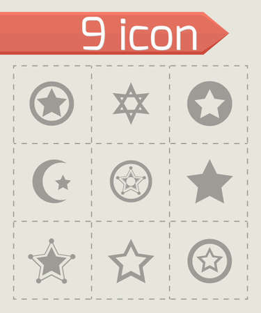 Vector stars icon set on grey background Vector