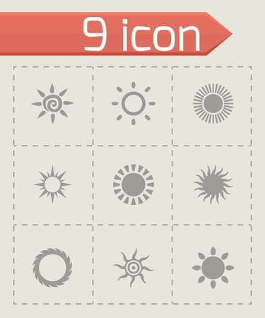 Vector sun icon set on grey background Vector