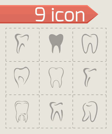 Vector teeth icon set on grey background Vector