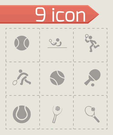 socer: Vector tennis icon set on grey background