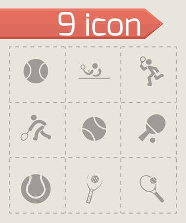 tenis: Vector tennis icon set on grey background