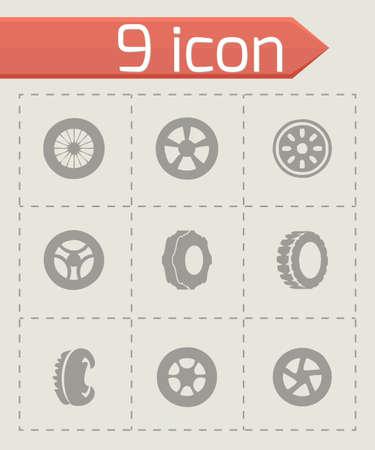 disk break: Vector tire icon set on grey background