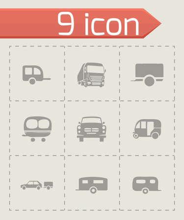 Vector trailer icon set on grey background Illustration