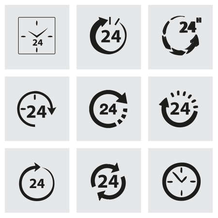 Vector 24 hours icon set on grey background