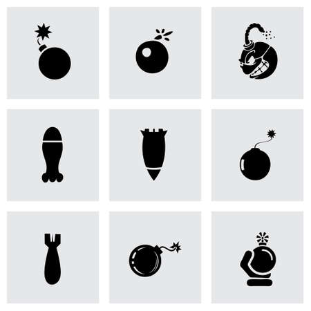 atomic bomb: Vector bomb icon set on grey background Illustration