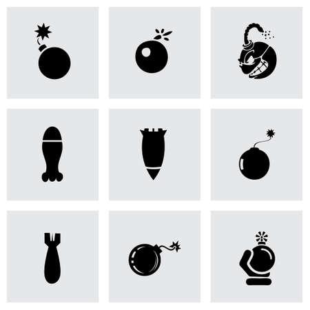 bombe atomique: Vector icon set bombe sur fond gris Illustration