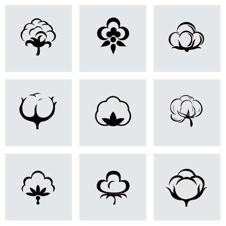 Vector cotton icon set on grey background