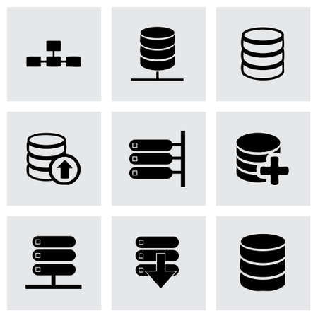Vector database icon set on grey background Vector