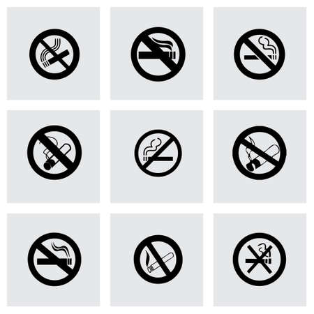 cigar label: Vector no smoking icon set on grey background Illustration